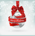 merry christmas earth icon with red bow and vector image vector image