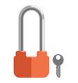 metal lock with elongated loop and orange corpus vector image vector image