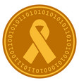 mourning ribbon digital coin vector image vector image