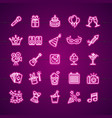 party signs neon thin line icon set vector image
