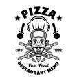 pizzeria emblem badge label or logo with vector image vector image