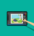 point view kid painted cartoon on tablet pen vector image vector image