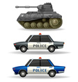 Police cars and military tank vector image vector image