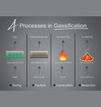 processes in gasification drying pyrolysis vector image vector image