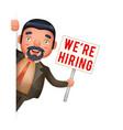 recruiter businessman look out corner hiring paper vector image vector image