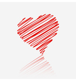 Red heart with reflection vector image vector image
