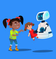 robot offering a stuffed toy to little cute girl vector image vector image