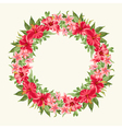 Round frame with red hibiscus flowers vector image