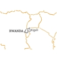 Rwanda hand-drawn sketch map vector image