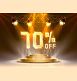 scene golden 70 sale off text banner night sign vector image vector image