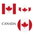 set icon canadian flag on a white background vector image vector image