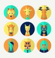 Set of stylized animal avatar vector image vector image