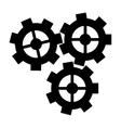 silhouette three gear wheel engine cog icon vector image vector image