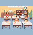 smiling classmates listening lecture in geography vector image vector image