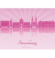 Strasbourg skyline in purple radiant orchid vector image vector image