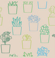 succulent plants seamless pattern vector image vector image