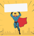template super hero holds a banner vector image vector image