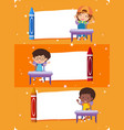 three banner templates with happy children vector image