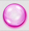 transparent pink sphere with shadow vector image vector image