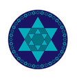 turquoise blue and jewish star in circle frame vector image vector image