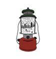 vintage hand drawn camping lantern emblem vector image vector image