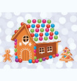 xmas card with colorful gingerbread cookies vector image