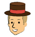 young man head with hat avatar character vector image vector image