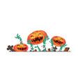 3d halloween pumpkin and zombies hands vector image