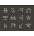 Flat white line icon for room interior vector image