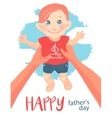Happy father s day card Father holds a child boy vector image