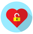 unlock heart vector image