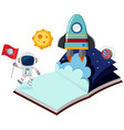 astronaut and rocket in the book vector image vector image