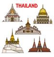 bangkok travel landmarks icons thailand temples vector image vector image