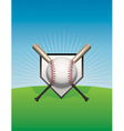 Baseball Background Ball and Bats vector image vector image