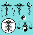 black and white set caduceus vector image