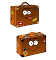 Brown travel briefcases with smiling face vector image