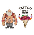 brutal tattoo man collection vector image