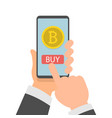 businessman hand holding smartphone with bitcoins vector image vector image