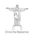 christ redeemer drawing sketch vector image vector image