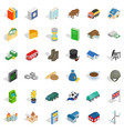 currency icons set isometric style vector image vector image