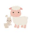 cute little sheep and rabbit animal cartoon vector image vector image