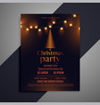 dark christmas flyer with glowing lights vector image
