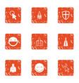 emotional exercise icons set grunge style vector image
