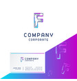 f company logo design with visiting card vector image