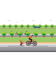 Father biking with little son Family bicycle tour vector image vector image