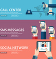 Flat communication background Social network vector image vector image