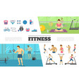 flat fitness elements collection vector image vector image