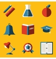 Flat icon set Education vector image vector image