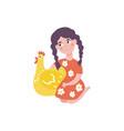 flat teen girl hugging chicken domestic bird vector image vector image