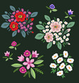 floral bunches set vector image